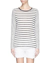 Vince Variegated Stripe Linen Long Sleeve Sweater