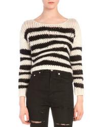 Saint Laurent Wavy Striped Chain Knit Sweater