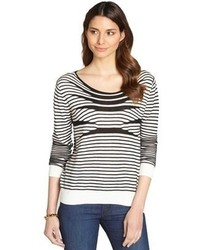 Fred and Sibel White And Black Raised Stripe Cotton Blend Sweater