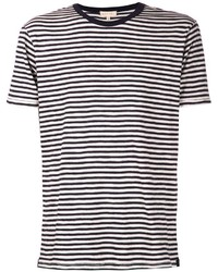 White and Black Horizontal Striped Crew-neck T-shirts for Men ...
