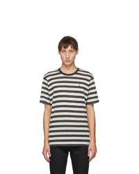 Saint Laurent Beige Striped Monogramme T Shirt