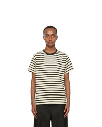Second/Layer Black And Off White Essential Ringer T Shirt