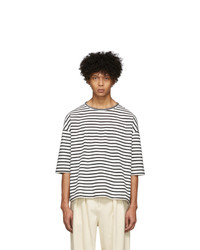 Kuro Black And White Striped Paralleled Yarn T Shirt
