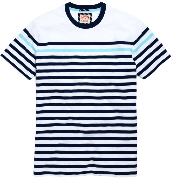 Brooks Brothers Multi Stripe Tee Shirt | Where to buy & how to wear