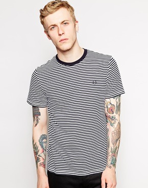 2a6213f8a95d ... Black Horizontal Striped Crew-neck T-shirts Fred Perry T Shirt With  Fine Stripe ...