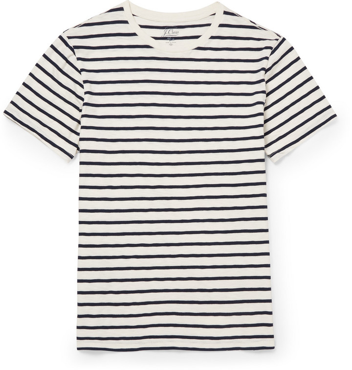 J Crew Striped Cotton Jersey T Shirt Where To Buy How
