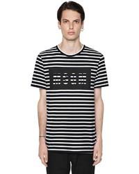 MSGM Logo Print Striped Cotton Jersey T Shirt