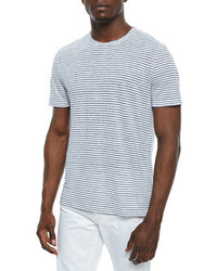 Michl kors striped linen t shirt white medium 276778