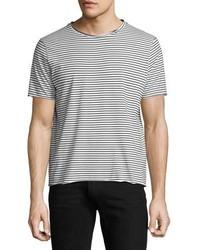 Modal raw edge striped t shirt blackwhite medium 3664517