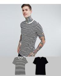 ASOS DESIGN Muscle Fit Black Stripeplain Black T Shirt 2 Pack Save