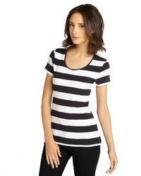 French Connection Navy And White Striped Stretch Cotton Open Back T Shirt