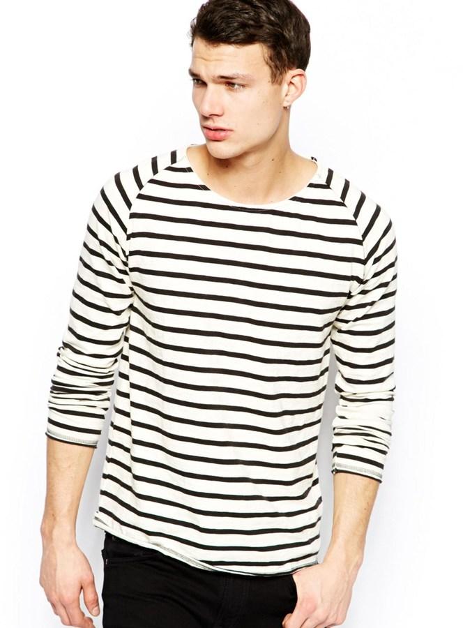 d8c6458dcbd ... Black Horizontal Striped Crew-neck T-shirts Nudie Jeans Nudie Long  Sleeve Top Otto Stripe Raglan Organic Slub White