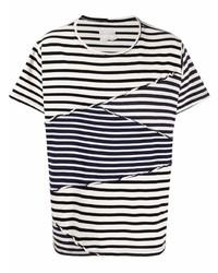Greg Lauren Panelled Stripe Cotton T Shirt