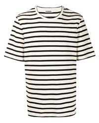 Jil Sander Plus Striped Logo Patch T Shirt