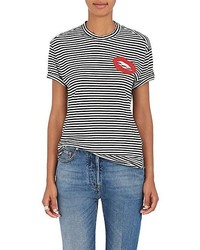 Sandrine Rose Lips Embroidered Striped Cotton Blend T Shirt