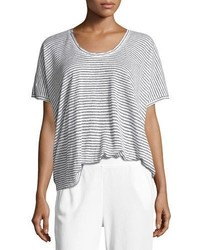 ATM Anthony Thomas Melillo Short Sleeve Striped Linen Tee Whiteblack