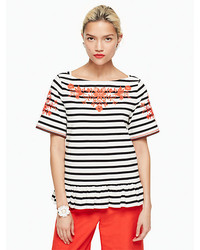 Kate Spade Stripe Embroidered Tee