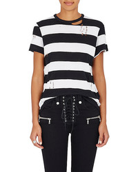 Amiri Striped Cotton Cashmere Distressed T Shirt