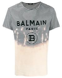 Balmain Striped Logo T Shirt