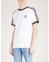 adidas Striped Short Sleeved Cotton T Shirt