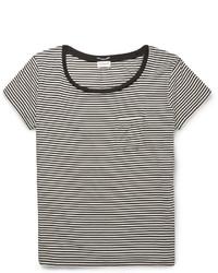 Saint Laurent Striped Silk Blend T Shirt