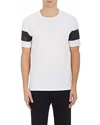 Barneys New York Striped Sleeve Cotton T Shirt