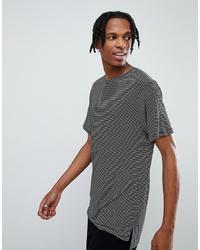 Mennace Striped T Shirt With Stepped Hem