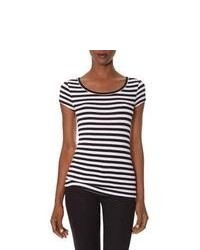 The Limited Striped Luxe Fit Scoopneck Tee Black M