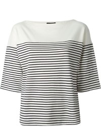 Theory Three Quarter Length Sleeve Horizontal Stripe T Shirt