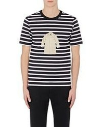 Band Of Outsiders Trench Coat Graphic Striped T Shirt Multi Size