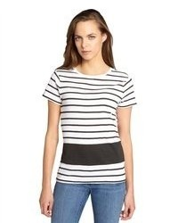 French Connection White And Black Striped Cotton Sonny Section T Shirt