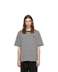 Needles White And Black Striped Logo T Shirt