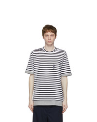 Comme des Garcons Homme White And Black Striped Pocket T Shirt