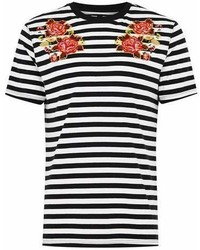 Topman White Stripe And Floral T Shirt