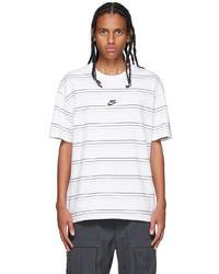 Nike White Striped Logo T Shirt