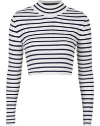 White and Black Horizontal Striped Cropped Sweater