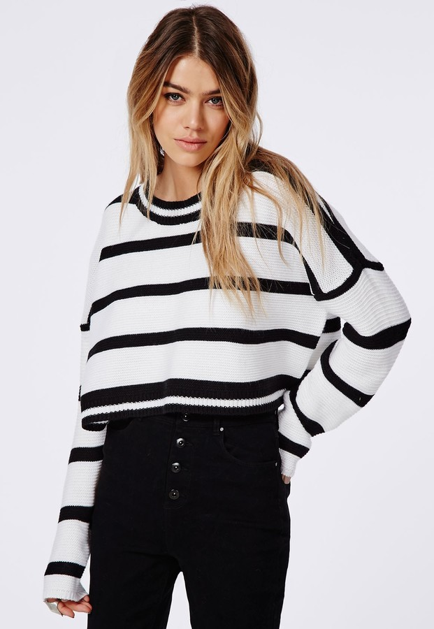 Missguided Stripe Oversized Knitted Cropped Sweater White | Where ...