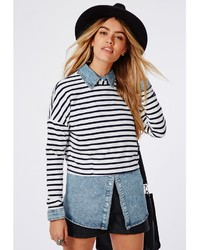 Missguided Striped Cropped Sweater White | Where to buy & how to wear