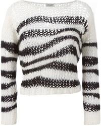Saint Laurent Striped Open Knit Sweater