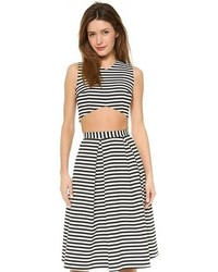White and Black Horizontal Striped Cropped Top