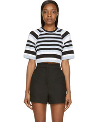 Opening Ceremony Blue Striped Cropped Ottoman Top