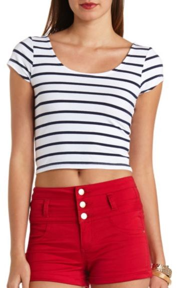 8d49a9a9f ... Charlotte Russe Striped Short Sleeve Crop Top ...