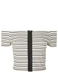 Topshop Hook Eye Stripe Crop Top