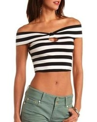 985188b57e4457 Women's White and Black Horizontal Striped Cropped Tops by Charlotte ...