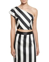 One shoulder striped crop top medium 6698383
