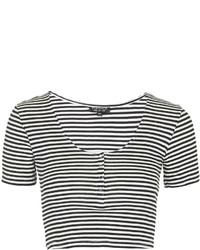 Topshop Ribbed Popper Front Cropped Tee