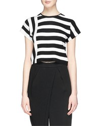 Theory Seblyn Contrast Stripe Cropped Knit T Shirt