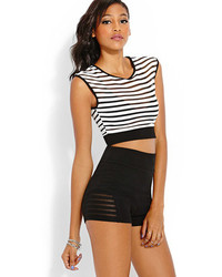 0bafae70dd10f Women s White and Black Horizontal Striped Cropped Tops by Forever ...