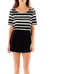jcpenney She Soul Harmony Energy She Short Sleeve Striped Crop Top Romper