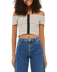 Stripe off the shoulder crop top medium 6698452